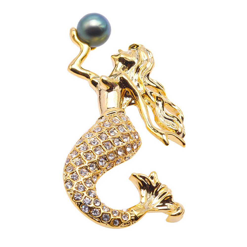 JYX Fine Mermaid Brooch Tahitian Southsea Cultured Pearl Brooch Pin Pendant