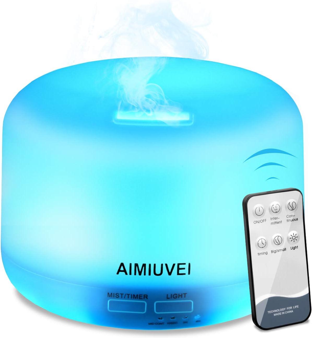 Humidificador Aromaterapia Ultrasónico con Control Remoto, AIMIUVEI Difusor de Aceites Esenciales 300ml,Purificador Aire Vapor Frío con 7 Colores de LED y 2 Opciones de Niebla para Bebé Yoga Oficina