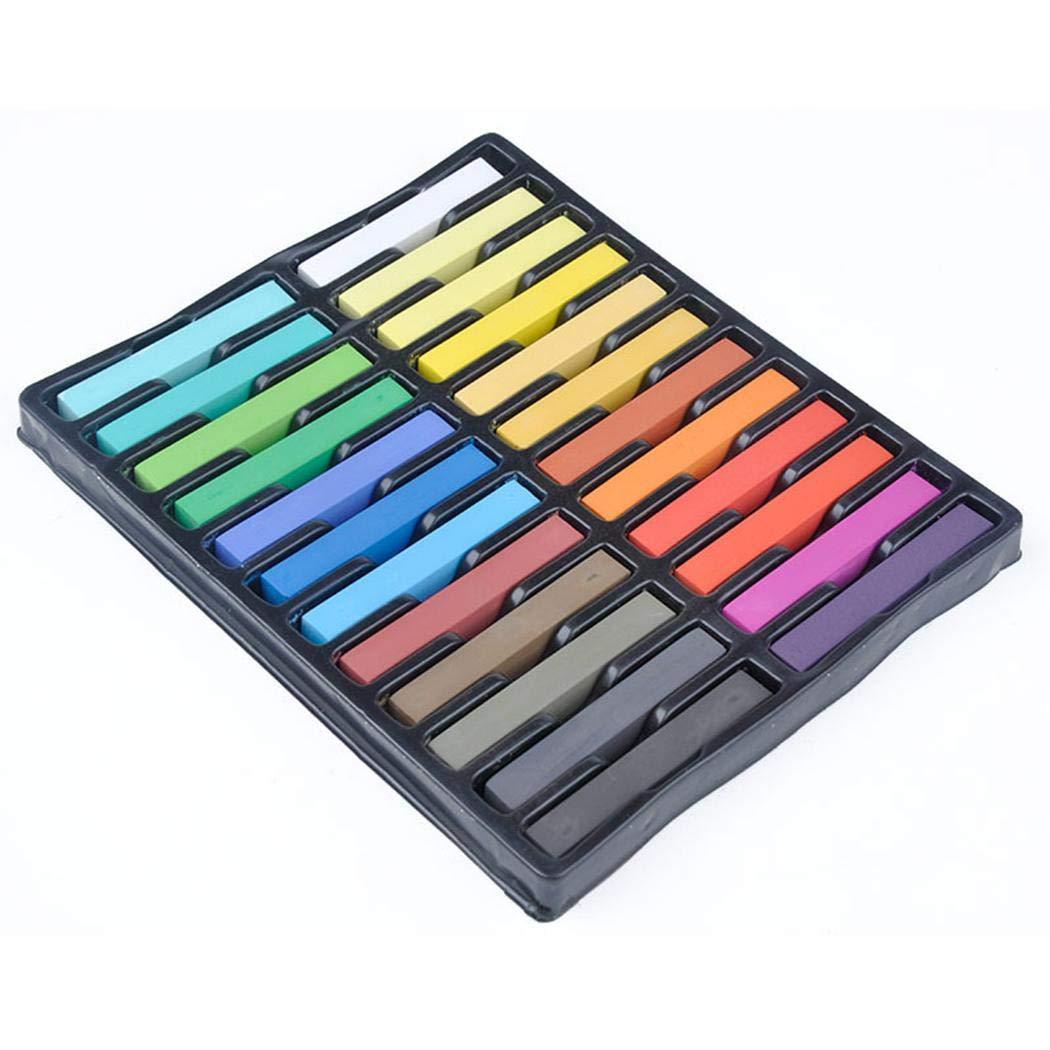 Qenci 24 Color Hair Chalk, DIY Hair Color Kit Non-toxic Temporary Pastel Hair Color Chalk by Qenci