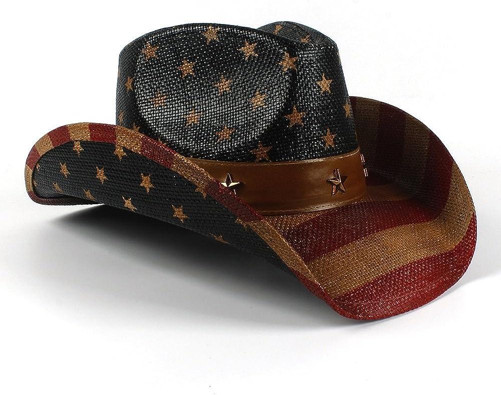 YUXUJ Mens USA Straw Western Cowboy Hat for Gentleman Sombrero Hombre Caps