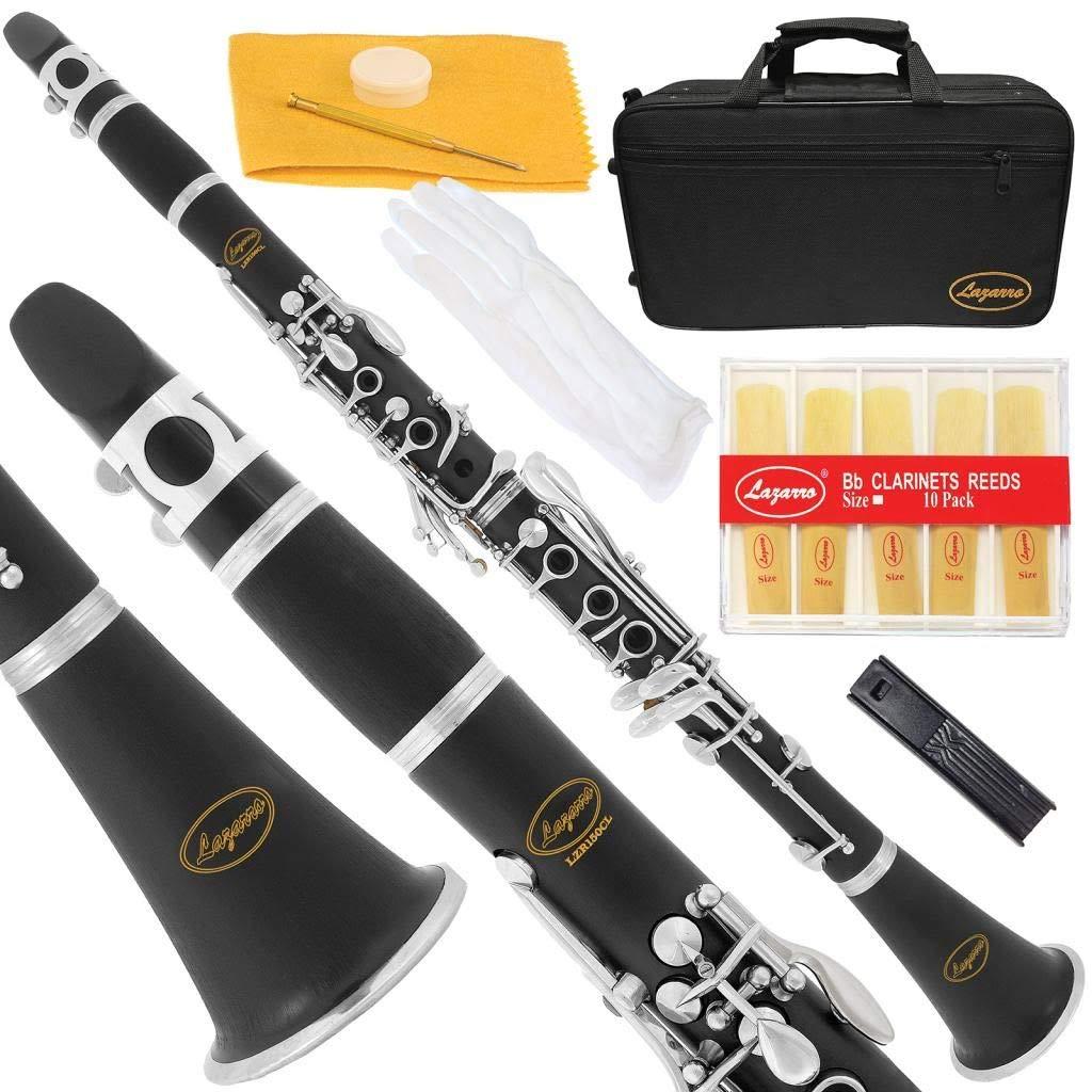 Lazarro Professional Black Ebonite-Silver Keys Bb B Flat Clarinet with 11 Reeds,2 Barrels,Case,Extras-See all 24 Colors-150-BK-PRO by Lazarro