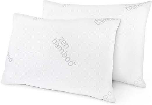 Zen Bamboo Ultra Plush Gel Pillow - (2 Pack King) Premium Gel Fiber Pillow  with Cool and Breathable Bamboo Cover - Hypoallergenic