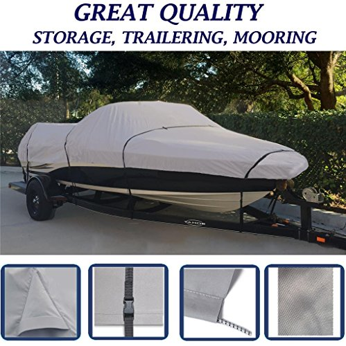 GREY, STORAGE, TRAVEL, MOORING BOAT COVER FOR REINELL/BEACHCRAFT 185 BR BOWRIDER I/O 1997 1998-04 (Reinell Boat Covers)