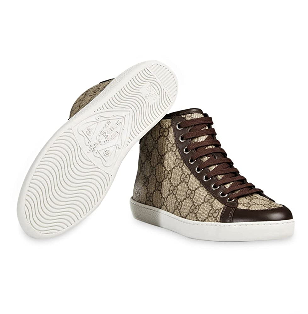 f0bc62841ea Amazon.com  Gucci Men s GG Supreme Canvas High Top Trainer Sneaker ...
