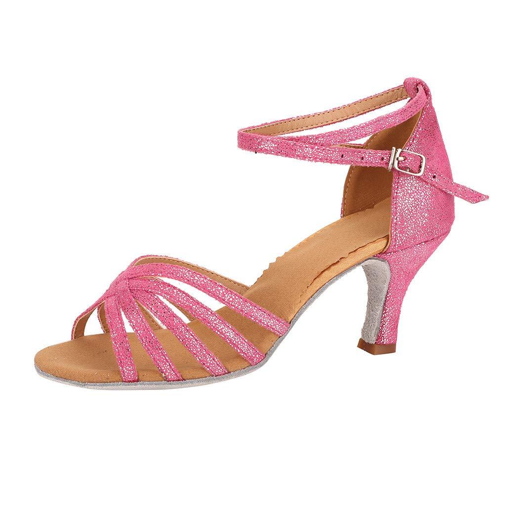 CCOOfhhc Women's Professional Latin Salsa Dance Shoes Satin Salsa Ballroom Wedding Dancing Shoes High Heel Sandals Hot Pink by CCOOfhhc