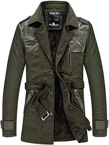 Pandaie-Mens Product Big Men Winter Jacket Mens Autumn Winter Casual Long Sleeve Stand Patchwork Leather Coat Outwear