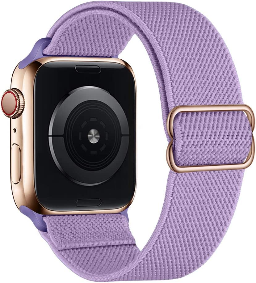 SIRUIBO Stretchy Nylon Solo Loop Bands Compatible with Apple Watch 38mm 40mm, Adjustable Stretch Braided Sport Elastics Women Men Strap Compatible with iWatch Series 6/5/4/3/2/1 SE, Purple
