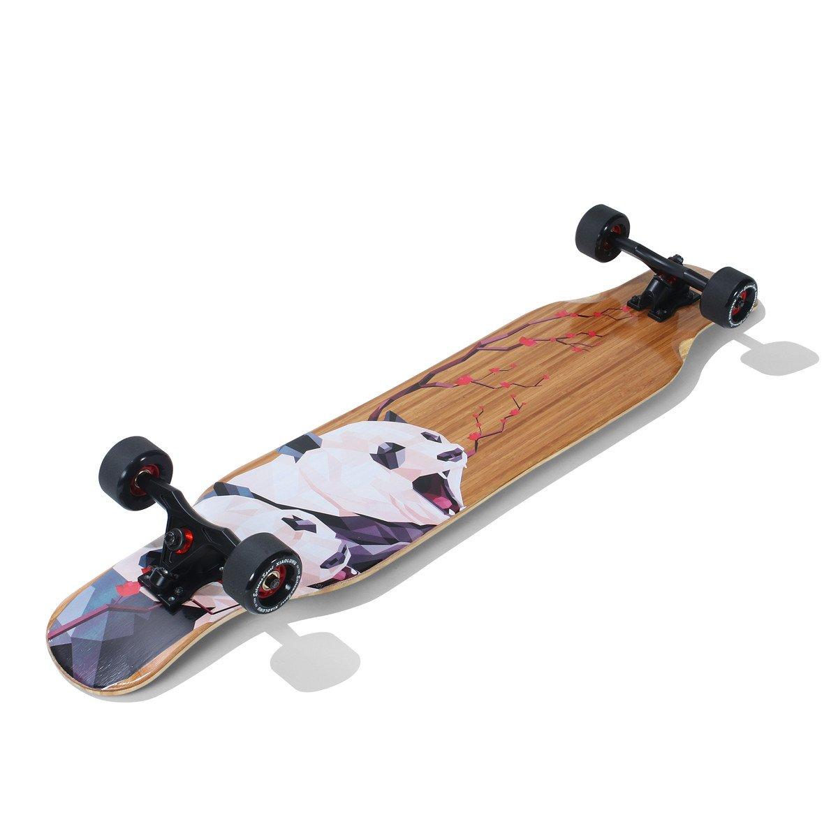 Mengzice 42 Inchs Bamboo and Fiberglass Drop Through Longboard Skateboard