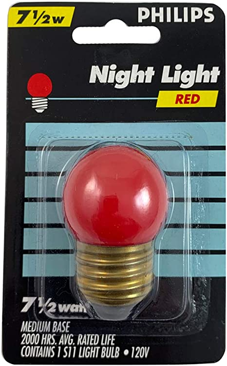 GE RED 7.5W S11 120V E26 BASE CERAMIC INCANDESCENT LIGHT BULB