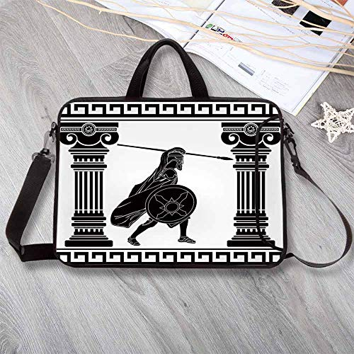 (Toga Party Neoprene Laptop Bag,Black Warrior Silhouette Ready to Attack Between Ancient Ionic Palace Columns Laptop Bag for Office Worker Students,15.4