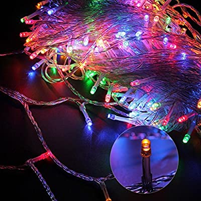 Fullbell Party Decorative String lights 66ft 200 LEDs with 8 modes Changing Fairy Twinkle LED Light for Wedding, Chirstmas Tree, Patio, Garden, Outdoor & Indoor Decoration + Controller(Transparent Wire)