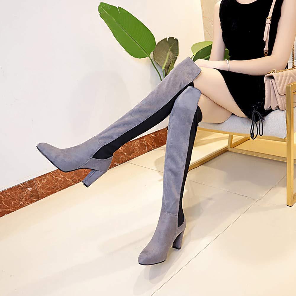 Toamen Botas Altas El/áSticas De Imitaci/óN Delgadas para Mujer Botas Sobre La Rodilla Tacones Altos