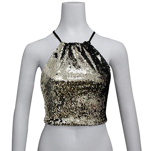 423757da98f chengzhijianzhu Women Shirts Girls Cute Tank Crop Tops Womens Short Sequins  Vest Fashion Camisole Sleeveless T-