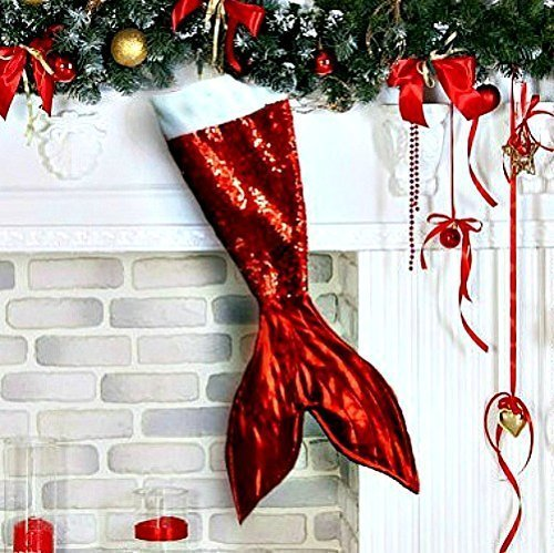 Red Mermaid Tail Christmas Stocking Holiday Decor for (Girls Christmas Stocking)