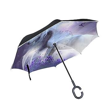 jstel doble capa puede unicornio hadas Magic Sparkles paraguas coches Reverse resistente al viento lluvia paraguas