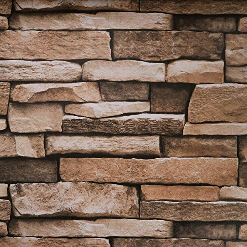 Stone Peel and Stick Wallpaper - Use as Contact Paper, Wall Paper, or Shelf Paper - Easily Removable Wallpaper - Brick Wallpaper - 17.71