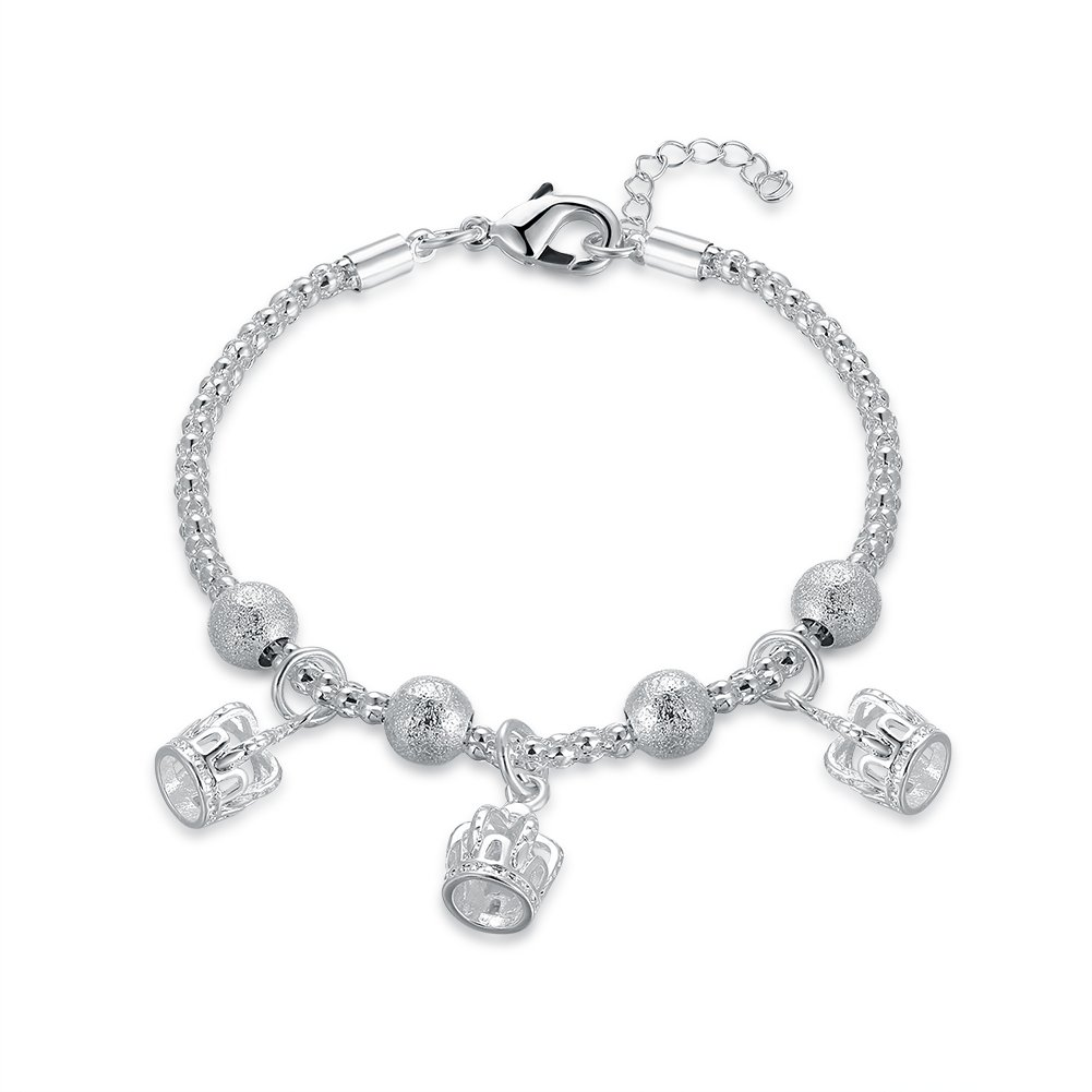 Mrsrui 925 Sterling Silver Plated Leaf Crown Heart Flower Charm Bracelet Birthday Wedding Gift (H)