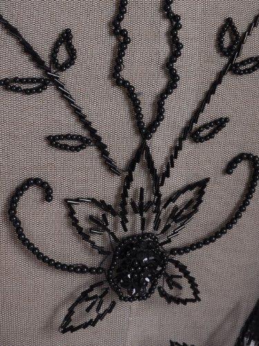 Anna Kaci-S/M-Fit noir style victorien à franges Motif Floral perle châle