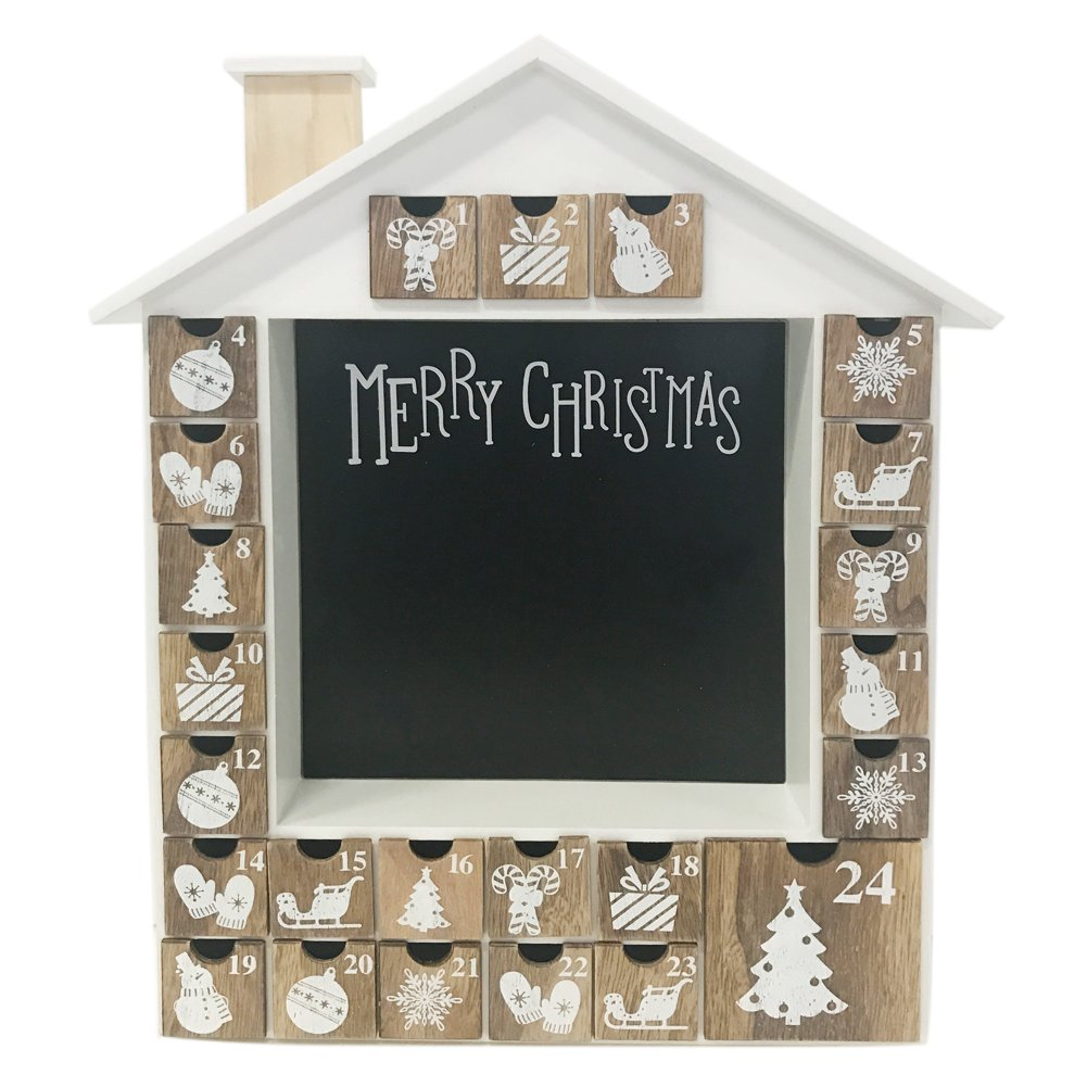 Advent Calendar House Wooden Christmas Calendar with 24 Drawers Ltd