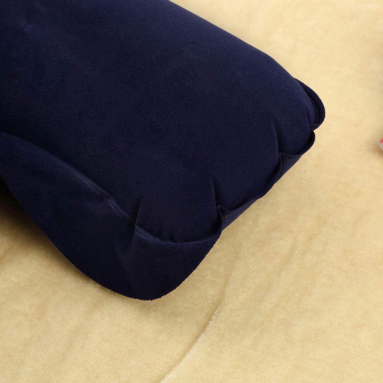 Almohada de Viaje Inflable Coj/ín de Aire Respaldo para el Cuello en Forma de U Avi/ón Compacto Vuelo Color Puro Coj/ín de Almohada de Descanso para el autom/óvil Cian