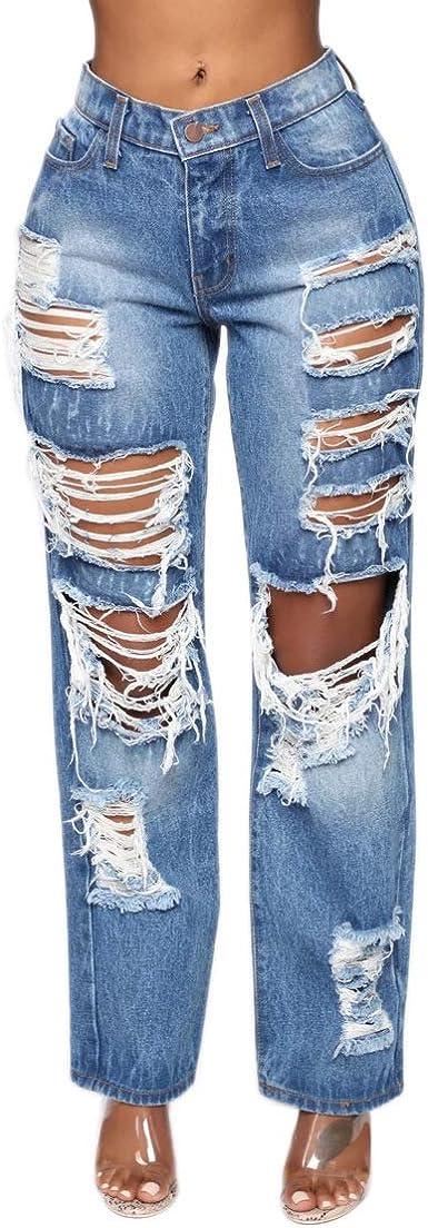 Amazon Com Yiq8 Pantalones Vaqueros De Talle Alto Para Mujer Clothing