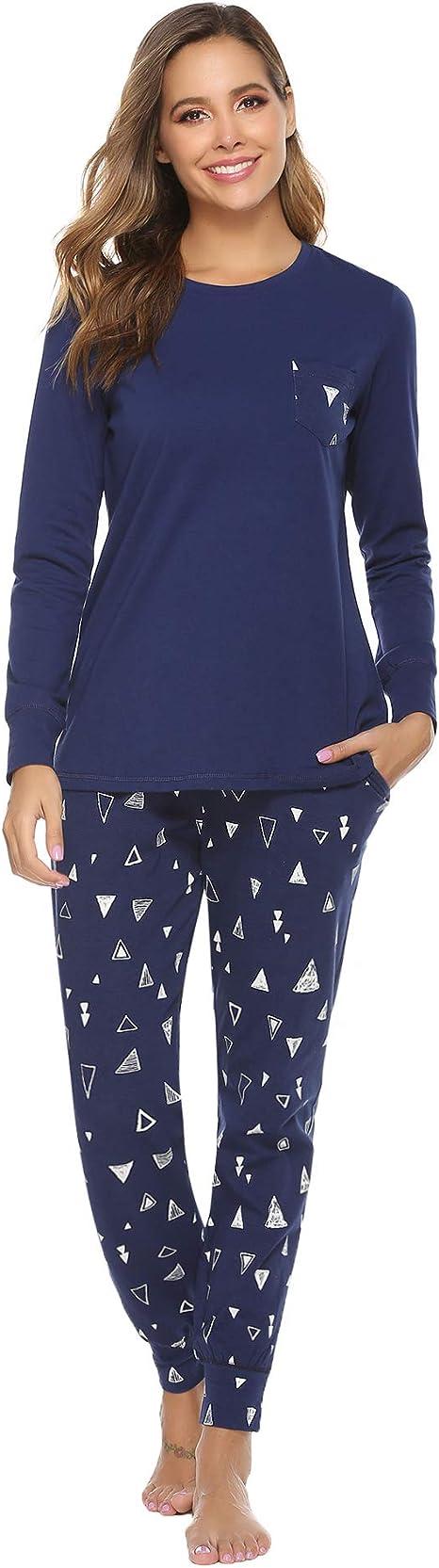 Aibrou Pijamas Mujer Invierno Algodón Mangas Larga Conjunto Camiseta y Pantalones Largo Ropa de Casa 2 Piezas: Amazon.es: Ropa y accesorios