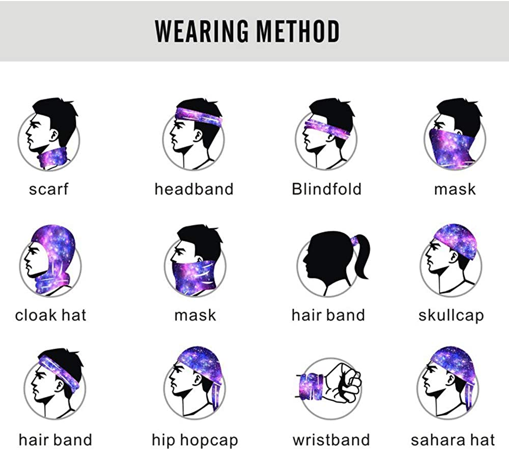 TWIFER Gesicht Schal Bandanas UV-Schutz Hals Gamasche Schal Kopfbedeckung Sturmhaube f/ür Staub im Freien Sport