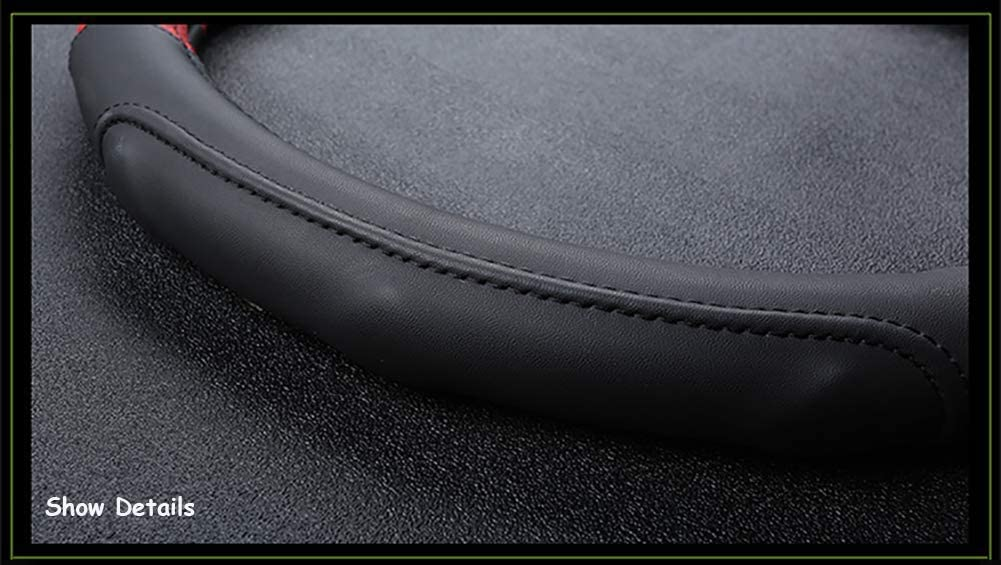 anwendbar f/ür Kia Sportage Optima K5 f/ür Nissan Qashqai J11 X-Spur T32 2015 2016 2017 2018 38 cm 15 Zoll Wei/ß Schwarz Rot Orange Carmery Lederauto-Lenkrad-Abdeckung Lether D Form