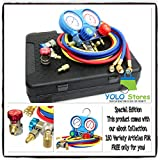 YOLO Stores A/C Manifold Gauge Set R134A R12 R22 Refrigeration Service Kit w/Couplers ACME By