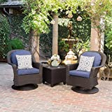 Linsten Outdoor Dark Brown Wicker Swivel Club Chairs and Side Table Set with Navy Blue Water Resistant Cushions For Sale