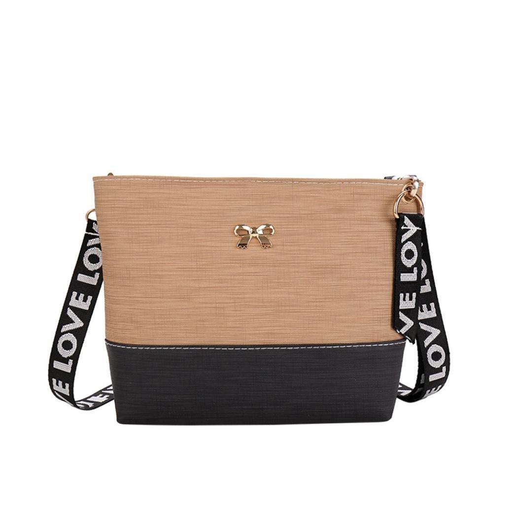 Bolayu Fashion Women Leather Shoulder Bag Messenger Satchel Tote CrossBody Bag Handbag (Khaki)