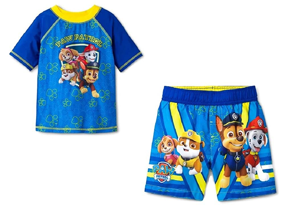Nickelodeon Paw Patrol Toddler Boys Rashguard & Trunk Set UPF 50+ Sun Protection (4T)