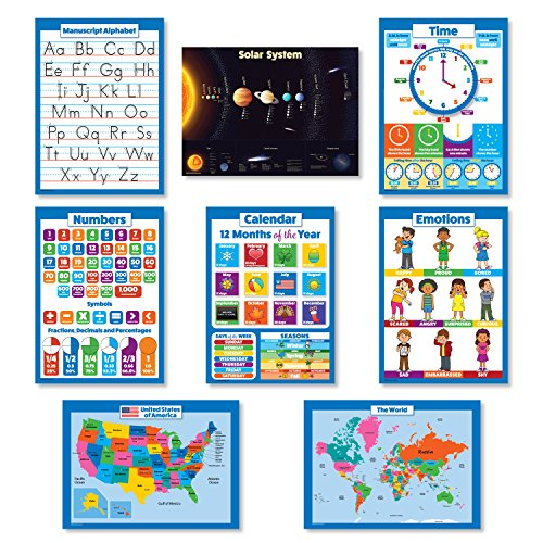 8 Educational Wall Posters For Kids - ABC - Alphabet, Solar System, USA Map, World Map, Numbers 1-100 +, Days of the Week, Months of the Year, Emotions, Time | Preschool Learning Charts (PAPER) ()
