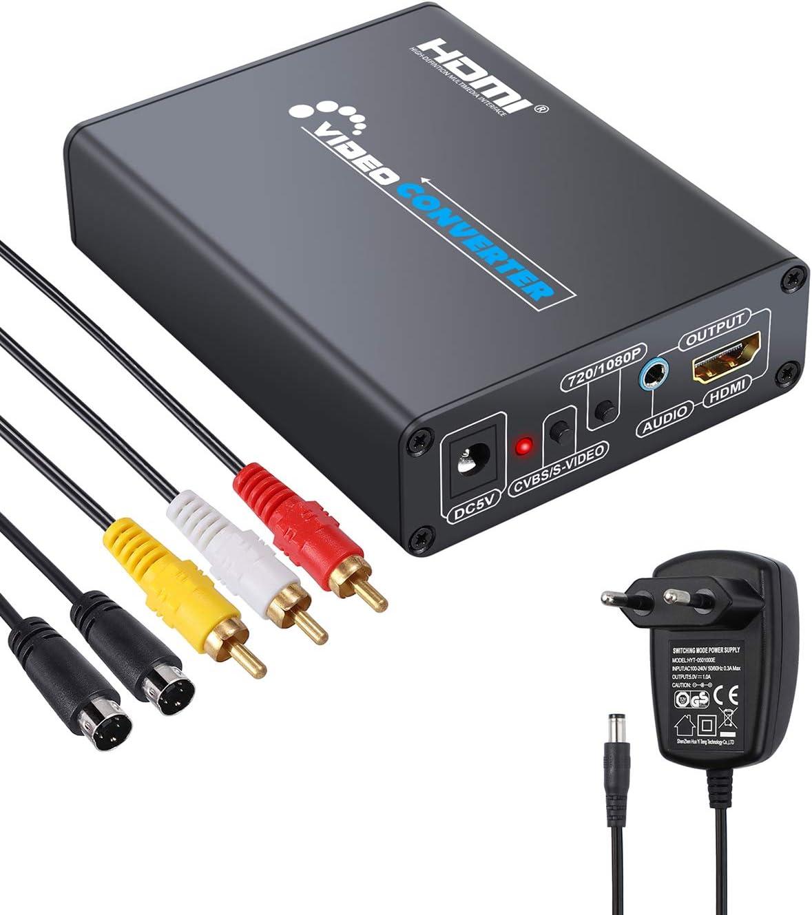 Convertitore video composito da HDMI a 3RCA CVBS VHS VCR DVD Adanse colore Nero