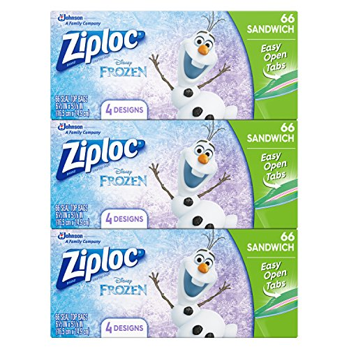 Ziploc Brand Sandwich Bags featuring Disney Frozen Designs, 66 ct, 3 pack Only $9.06