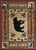 Black Bear Novelty Lodge Pattern Brown Rectangle Area Rug, 8' x 10'