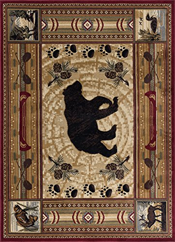Black Bear Novelty Lodge Pattern Brown Rectangle Area Rug, 5' x 7' (Bear Home Decor)