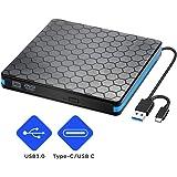 USB3.0 Type-C 外付け DVD ドライブ 薄型 ノートPC向け 書き込み 読み込み DVD CD 外付け プレーヤー スリムタイプ ポータブル USB3.0/2.0/1.0 Windows/Linux/Mac OS等対応 ブラック