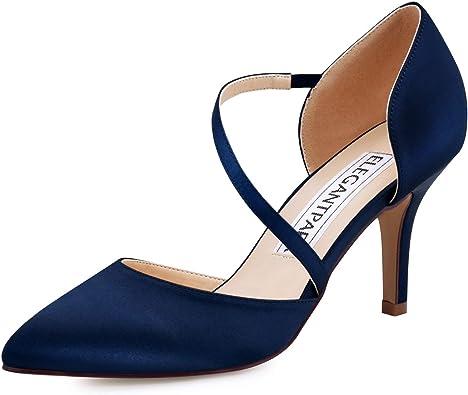 Navy Blue Satin Heels