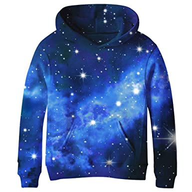 9d01f54b841 SAYM Teen Boys  Galaxy Fleece Sweatshirts Pocket Pullover Hoodies 4-16Y NO1  XS