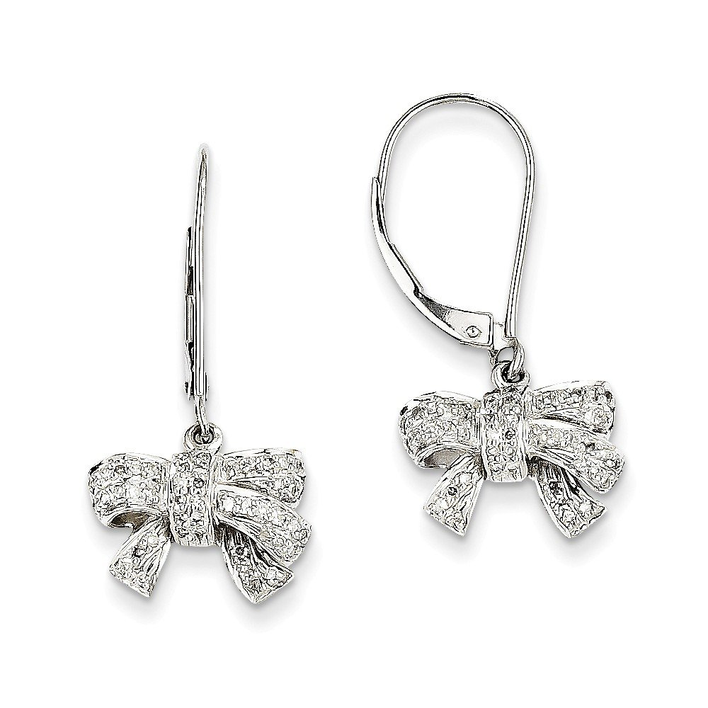 14k White Gold 0.35ct Diamond Bow Dangle Leverback Earrings, Diamond CTW 0.35