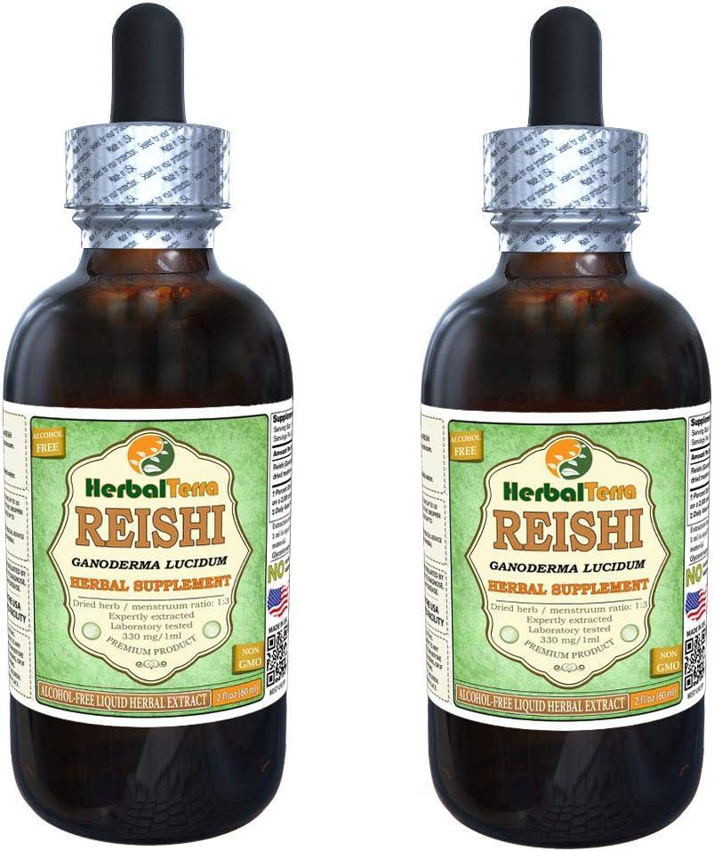 Reishi Mushroom Ganoderma Lucidum Glycerite, Organic Dried Mushrooms Alcohol-Free Liquid Extract Brand Name HerbalTerra, Proudly Made in USA 2×2 fl.oz 2×60 ml