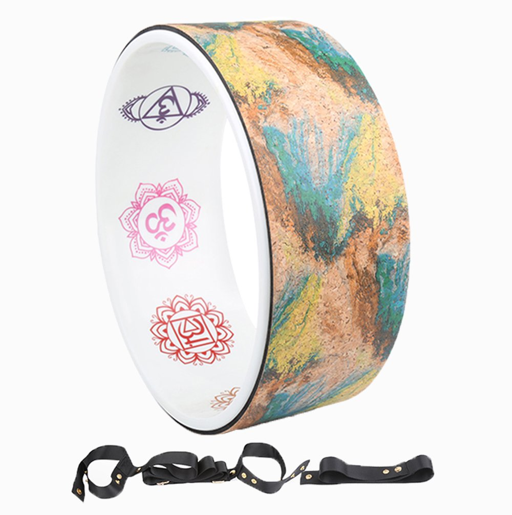 A-Flower Yoga Wheel Natural Cork Dharma Exercise Wheel 12.6 x 4.9 Inch for Enhancing Your Postures and Stretching Deeper with Strap