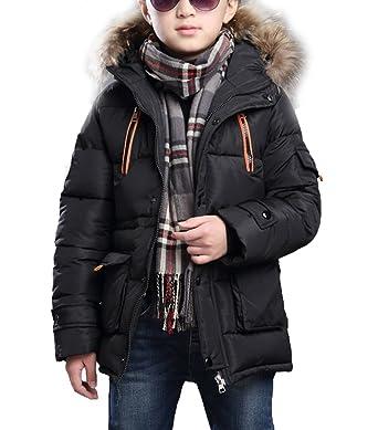 on feet images of discount various styles MILEEO Enfant Garçon Hiver Fourrure Artificielle Manteau avec Capuche  Wintermantel Outerwear Oberbekleidung Winter Kleidung Kinderjacke  Winterjacke