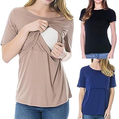 b299e926e5d93 InduIn Hot Sales | Women's Maternity Nursing Tops Short Sleeve Breastfeeding  Clothes Breastfeeding Tee Nursing Tops Nightshirt: Amazon.in: Clothing & ...