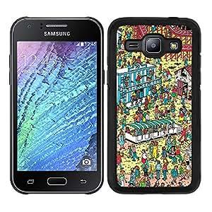Funda carcasa para Samsung Galaxy J1 diseño estampado busca a Wally 1 borde negro