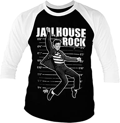 ELVIS PRESLEY Licenciado Oficialmente Jailhouse Rock Baseball Camisa de Manga 3/4 para Hombre (Negro-Blanco)