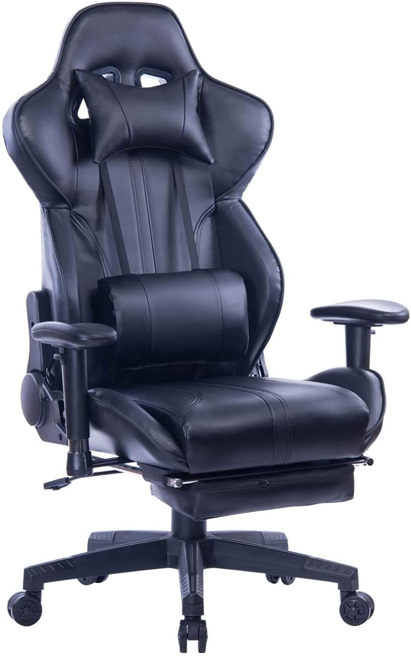 Blue Whale Gaming Chair PC Computer Game Chair with Footrest Racing Gamer Chair Ergonomic Office Chair High-Back PU Leather Computer Desk Chair with Lumbar Cushion and Headrest (GM039Black-2)