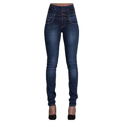 Legou Femme Jeans Taille haute Bleu foncé Small