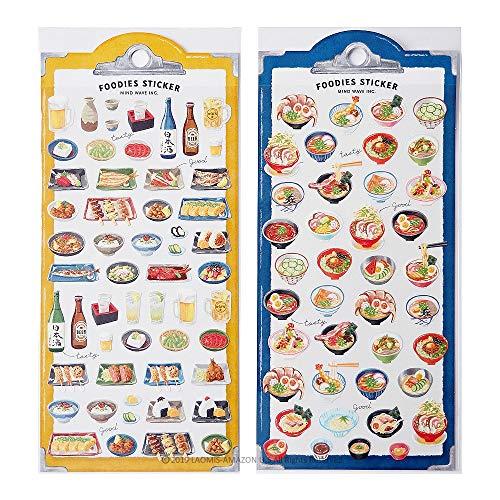 Mind Wave Japanese Foodies Paper Sticker Sheets/Set of 2 (Japanese Food [ 79365 ] + [ 79367 ])